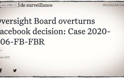 HCQ •Facebook tancé par son propre organe de surveillance